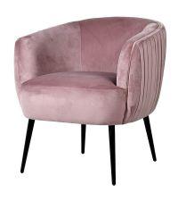 Armlehnsessel mit geraffter Rückseite, Samtsessel rosa mit schwarzen Füßen