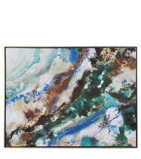 moderner Leinwanddruck, Wandbild mit Farbverlauf in türkis, grün, braun & gold