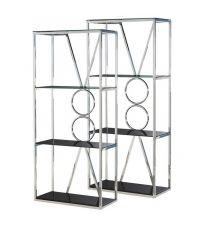 zwei Bücherregale aus Chrom mit Kreismuster & schwarzen Glasböden