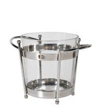 edler Eiskübel aus klarem Glas mit Metallrahmen, silber
