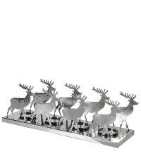 Kerzenhalter für 4 Kerzen mit Rentieren aus Metall in Hammerschlag-Optik, silber
