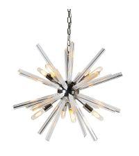 moderne Hängeleuchte in Sonnenoptik aus Glas & Chrom
