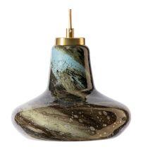 Hängeleuchte mit bauchigem Glasschirm mit Farbverlauf von braun bis türkis