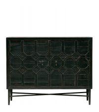 Sideboard aus Kiefernholz mit geometrischem Muster, Antik-Optik schwarz