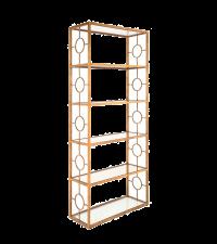 Bücherregal im Art-Deco Look mit Glasfächern und aufwändigen Verzierungen