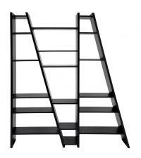 modernes asymmetrisches Regal mit fünf Ebenen, Bücherregal schwarz