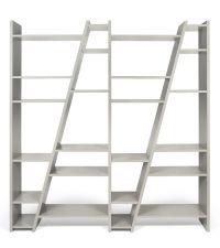 großes modernes asymmetrisches Regal, Bücherregal grau