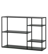 Niedriges Bücherregal aus schwarzem Metall mit geometrisch angeordneten Fächern