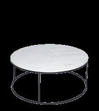 moderner, runder Couchtisch mit Marmorfinish & schwarzem Metall, weiß