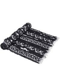 Decke im Ethno-Style mit Fransen, schwarz & grau