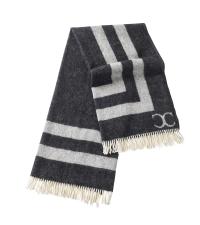 hochwertige Decke mit geometrischem Muster und weißen Fransen, dunkelgrau