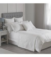 weißer Baumwoll-Bettläufer mit Musterung
