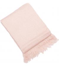 sehr weiche, fein gewebte Decke aus Kunstwolle mit Fransen in hellrosa
