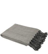 elegante Decke mit Chevron-Muster & Fransen, anthrazit