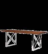 moderner Esstisch mit grober Vollholz Tischplatte und Chromfüßen