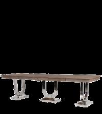 ausziehbarer Esstisch mit groben Vollholz Tischplatten und massiven Chromfüßen