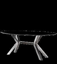 moderner ovaler Esstisch mit Chromfuß & schwarzer Glasplatte