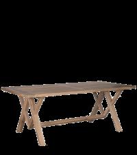 rustikaler Esstisch mit gekreuzten Füßen aus Eiche Vollholz