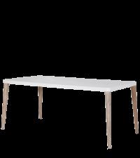 Esstisch im Retro-Style mit weißer gerundeter Tischplatte, Füße aus hellem Holz