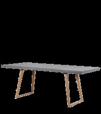 zarter Esstisch in Beton-Optik mit Holzfüßen im Retro-Style