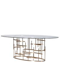 traumhafter ovaler Esstisch mit Glasplatte und auffälligem Fuß, gold