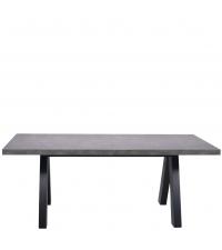 moderner ausziehbarer Esstisch in Beton-Optik mit schwarzen Holzfüßen