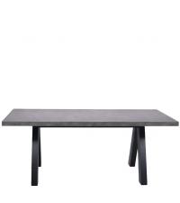 moderner Esstisch in Beton-Optik mit schwarzen Holzfüßen