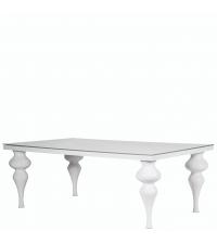 großer Esstisch Hochglanz weiß mit Säulenfüßen & Glasplatte