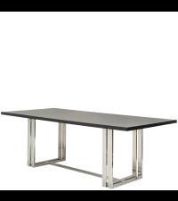moderner Esstisch mit Chromfüßen und massiver, Wenge furnierter Tischplatte