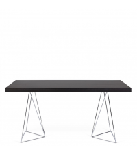 moderner Esstisch oder Schreibtisch mit besonders zarten Chromfüßen, Wenge