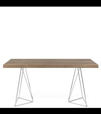 moderner Esstisch oder Schreibtisch mit besonders zarten Chromfüßen, Nussbaum