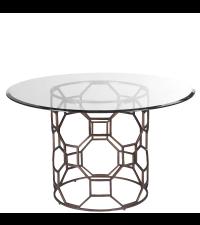 pompöser, runder Esstisch mit Glasplatte und bronzenem Fuß im antiken Stil