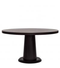 runder Esstisch aus dunklem Eichenholz mit mittig platziertem Tischbein