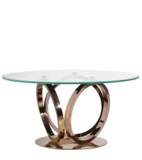 edler, runder Esstisch mit Glasplatte und geschwungenen Metallbeinen in Gold-Rosé