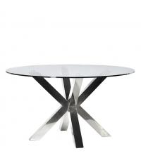 moderner Esstisch mit runder Glasplatte und glänzenden Metallbeinen