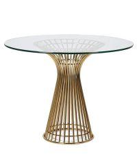 runder Esstisch aus klarer, robuster Glasplatte auf geschwungenem Gitterfuß aus Edelstahl mit Gold-Finish