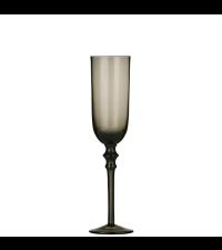 elegantes schimmerndes Sektglas mit Verzierung in zartem Graubraun