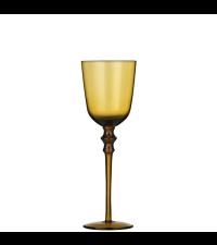 elegantes schimmerndes Weinglas mit Verzierung in gold-gelb