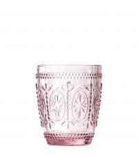Trinkglas mit Blumenverzierung zart rosa