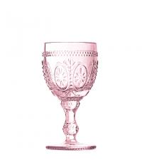 Weinglas mit Blumenverzierung zart rosa