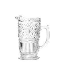 mit erhabenen Blumen & Ranken verzierter Wasserkrug aus klarem Glas
