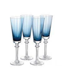 4er-Set Sektgläser, Sektflöten aus blau getöntem Glas