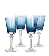 4er-Set Weißweingläser, Weingläser aus blau getöntem Glas
