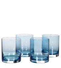 4er-Set Trinkgläser, Wassergläser aus blau getöntem Glas