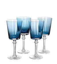 4er-Set Rotweingläser aus blau getöntem Glas