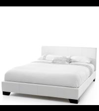 Polsterbett mit weißem Kunstlederbezug