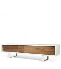 modernes TV-Lowboard im Retro-Style matt weiß & Nussbaum mit zwei Fächern