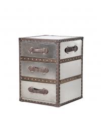 Nachtkästchen Kofferkommode metallic mit 3 Laden Kanten aus Leder