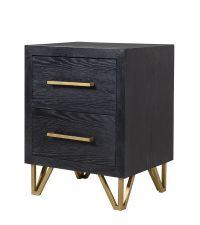Nachttisch aus schwarzem Holz mit goldenen Elementen