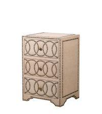 kleine Kommode, Nachttisch mit Leinenbezug in beige & geometrischer Nietenverzierung